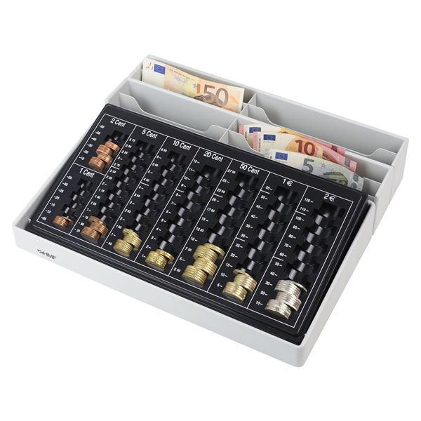 Münzsortierer inkl. Euro-Münzzählbrett, 8 Geldscheinfächer, HMF 3140, 35 x 30,5 x 7,5 cm