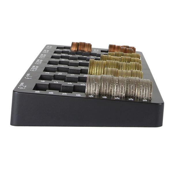 Euro-Münzzählbrett abgeschrägt, HMF 282-02, 27,5 x 13 x 3 cm, schwarz