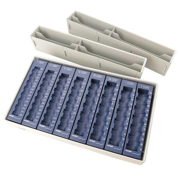 Münzsortierer inkl. 8 herausnehmbare Euro-Münzrillen, 8 Geldscheinfächer HMF 3001-05, 35 x 30 x 6,5