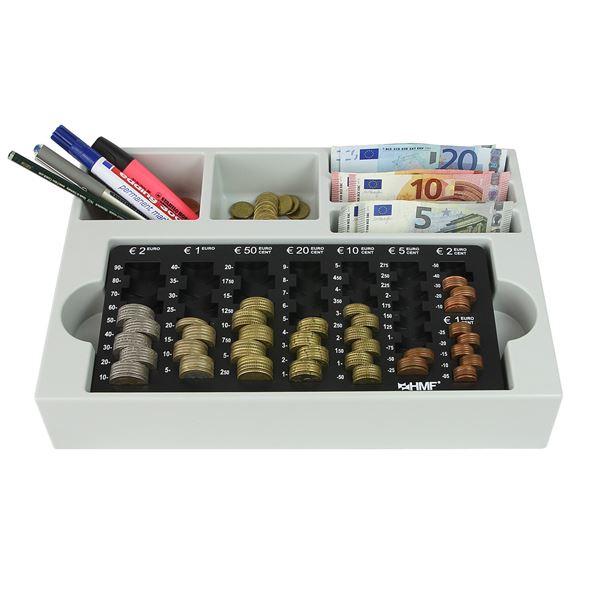 Münzsortierer inkl. Euro-Münzzählbrett, 3 Geldscheinfächer, HMF 3210-02, 35 x 23,5 x 7 cm, schwarz