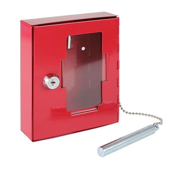 Notschlüsselkasten Glasbruchhammer, HMF 1021-03, 15 x 12 x 4 cm, rot