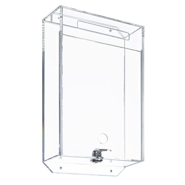 Spendenbox Acryl Pfandmarkenbox, inkl. indiviuelle Klebefolie, HMF 469182, 31,5 x 18 x 7 cm