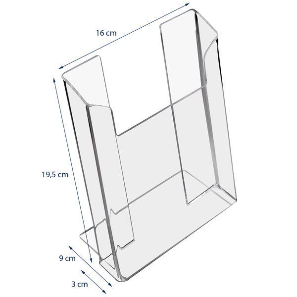 Prospektständer, Prospekthalter DIN A5 Acryl, HMF 46961, 16 x 19,5 x 9 cm