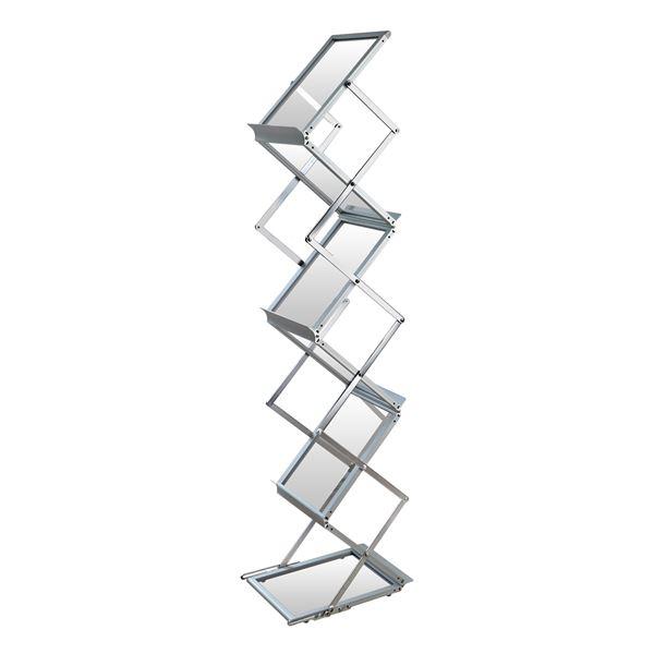 Faltbarer Prospektständer, Katalogständer, DIN A4 Acryl, Zickzack, HMF 46982, 145 cm