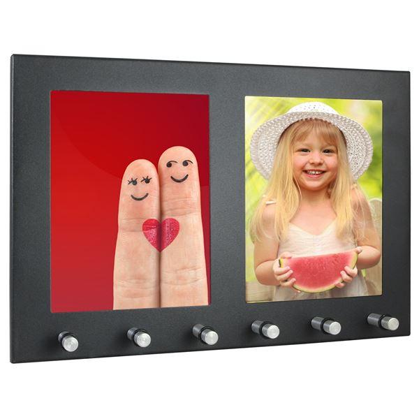 Schlüsselbrett 2 Fotorahmen Hochformat, 6 Haken, HMF 10830-02, 29,7 x 20 x 4,3 cm, schwarz