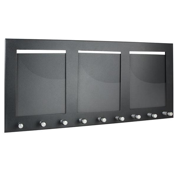 Schlüsselbrett 3 Fotorahmen Hochformat, 9 Haken, HMF 10850-02, 44 x 20 x 4,3 cm, schwarz