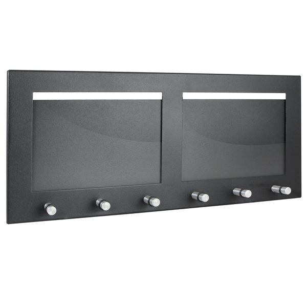 Schlüsselbrett 2 Fotorahmen Querformat, 6 Haken, HMF 10833-02, 38,5 x 16,2 x 4,3 cm, schwarz