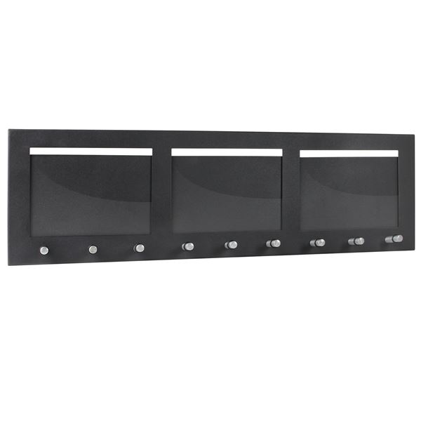 Schlüsselbrett 3 Fotorahmen Querformat, 9 Haken, HMF 10855-02, 53,5 x 16,2 x 4,3 cm, schwarz