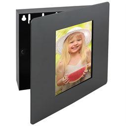 Schlüsselkasten Fotorahmen 5 Haken, HMF 1050-02, 22 x 20 x 5 cm, schwarz
