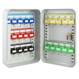 Schlüsselkasten 25 Haken, HMF 12525-07, 25 x 17 x 7,5 cm, lichtgrau