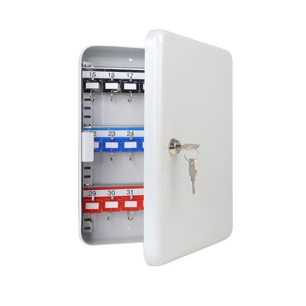 Schlüsselkasten 35 Haken, HMF 13035-07, 32 x 23 x 7,5 cm, lichtgrau