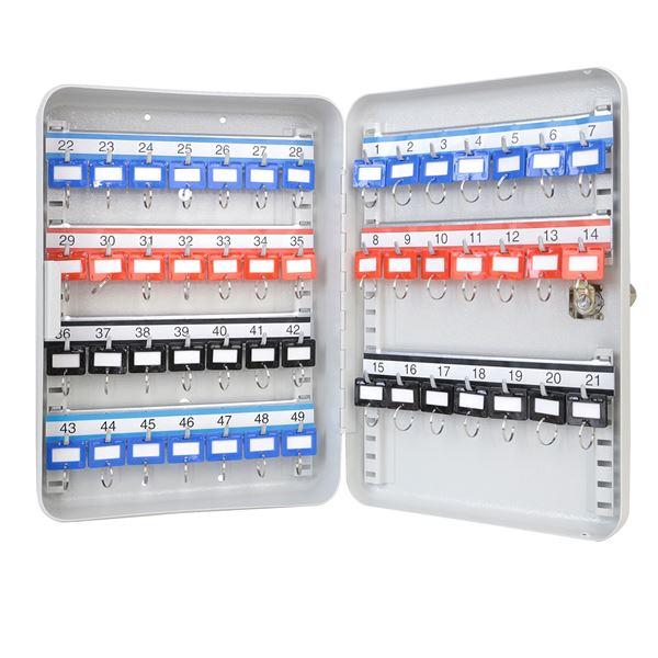 Schlüsselkasten 49 Haken, HMF 13049-07, 32 x 23 x 7,5 cm, lichtgrau