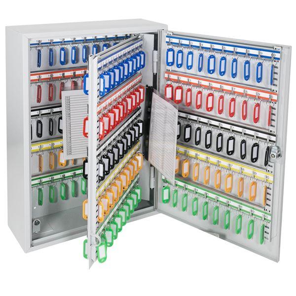 Schlüsselschrank 200 Haken, HMF 135200-07, 55 x 38 x 14 cm, lichtgrau