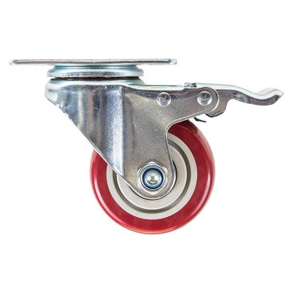 Schwerlastrollen aus Polyurethan mit Bremse, 4er Set, HMF 6710, 75 mm und 100 mm
