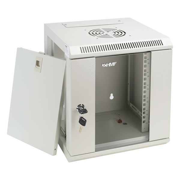 Serverschrank 10 Zoll, 6 HE, HMF 63306-07, 31,2 x 30 x 35 cm, lichtgrau