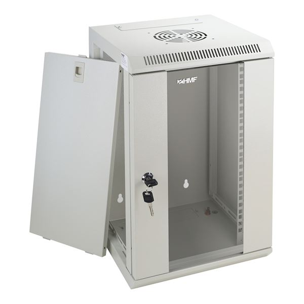 Serverschrank 10 Zoll, 9 HE, HMF 63309-07, 31,2 x 30 x 48,3 cm, lichtgrau