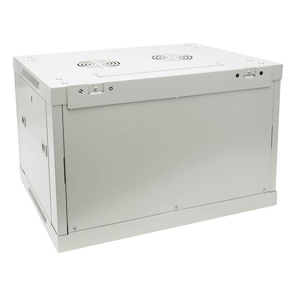 Serverschrank 19 Zoll, 6 HE, perforierte Tür, HMF 65546-07, 60 x 45 x 37 cm, Lichtgrau