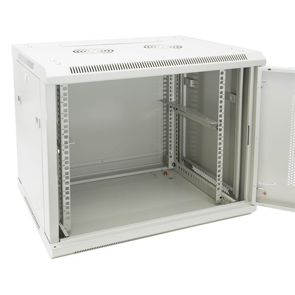 Serverschrank 19 Zoll, 9 HE, perforierte Tür, HMF 65549-07, 60 x 45 x 51 cm, Lichtgrau