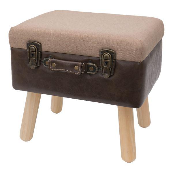 Sitzhocker Koffer mit Stauraum im Vintage-Design, HMF VSH101, 40 x 32 x 39 cm, Klassik