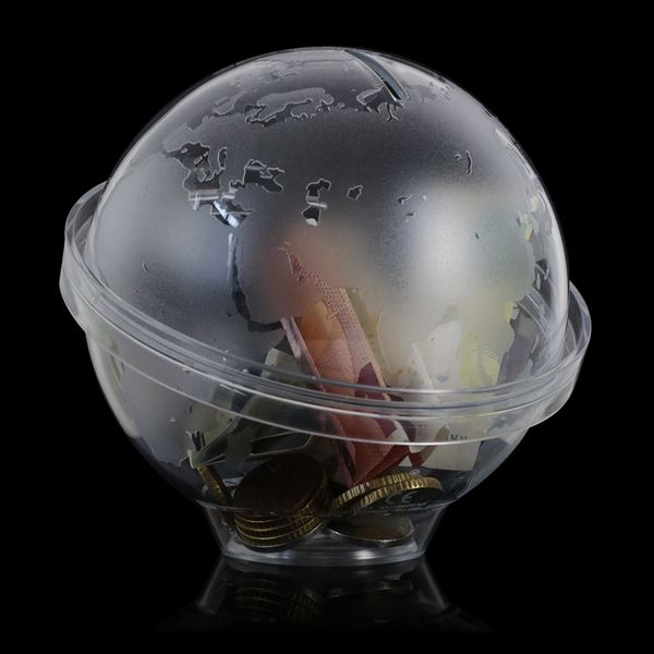 Spardose Globus Acryl, HMF 47500, 13 cm