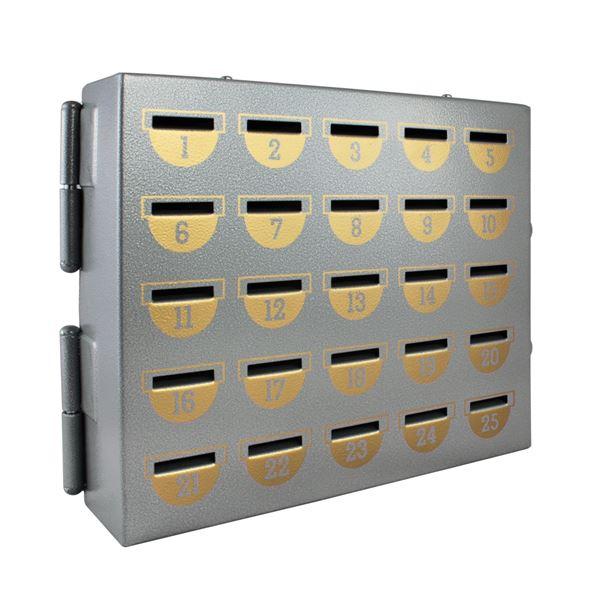 Sparschrank 25 Sparfächer, HMF 10525-09, 23 x 29 x 7 cm, silber
