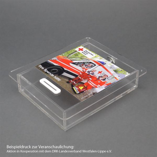 Spendenbox Teller Acryl, inkl. individuelle Klebefolie, HMF 469152, 4,5 x 21,5 x 18 cm