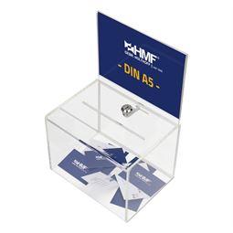 Spendenbox Acryl Din A5 Blatteinschub, HMF 46913, 21,5 x 16 x 16 cm