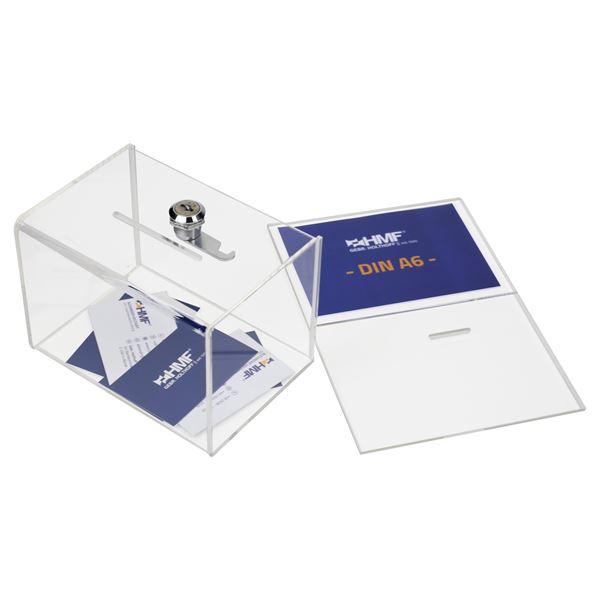 Spendenbox Acryl Din A6 Blatteinschub, HMF 46912, 15,5 x 11 x 11 cm