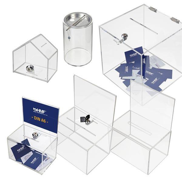 Spendenbox Acryl Würfel, HMF 46919, 15 x 15 x 15 cm