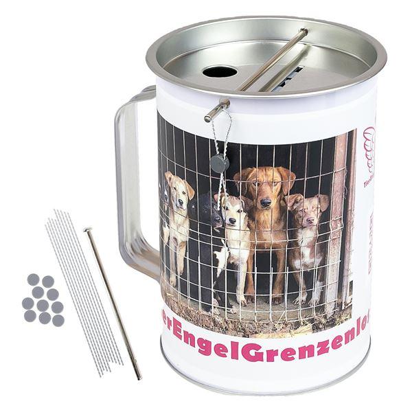 Spendendose mit Griff, inkl. individuelle Klebefolie, HMF 48100-07, 14,5 x 10 cm, lichtgrau