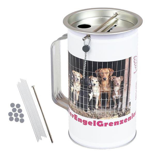 Spendendose mit Griff, inkl. individuelle Klebefolie HMF 45100-07, 14,5 x 8 cm, lichtgrau