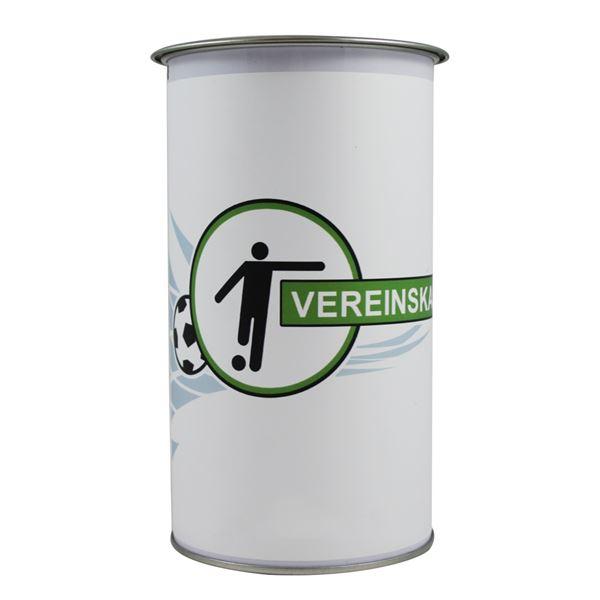 Spendendose mit Griff, inkl. Foliendruck, Fußball Vereinskasse, HMF 45130-07, 14,5 x 8 cm, lichtgrau