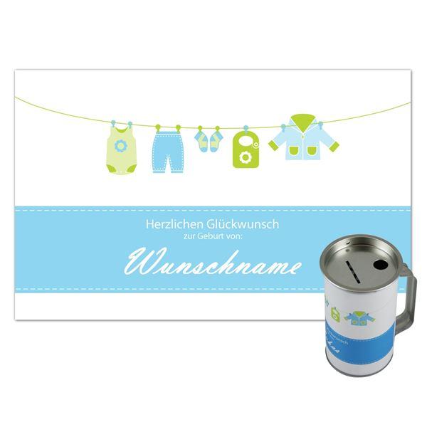 Spendendose mit Griff, inkl. Foliendruck, Geburt Junge, HMF 45120-07, 14,5 x 8 cm, lichtgrau