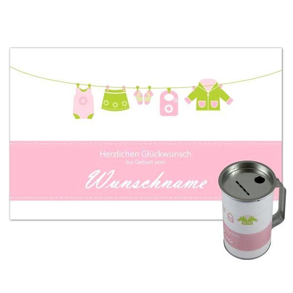 Spendendose mit Griff, inkl. Foliendruck, Geburt Mädchen, HMF 45110-07, 14,5 x 8 cm, lichtgrau