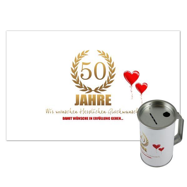 Spendendose mit Griff, inkl. Foliendruck, Geburtstag, HMF 45140-07, 14,5 x 8 cm, lichtgrau