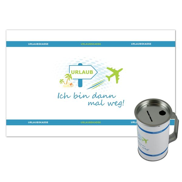 Spendendose mit Griff, inkl. Foliendruck, Urlaub Reisen, HMF 45150-07, 14,5 x 8 cm, lichtgrau