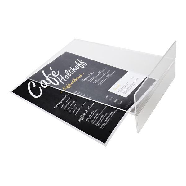 Tischaufsteller Din A4 Acryl, Menükartenhalter, HMF 46922, 21,5 x 32 x 10,5 cm