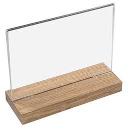 Tischaufsteller mit Holzfuß, Din A4 Acryl, Menükartenhalter, Querformat, HMF 46945, 30 x 24 x 6 cm
