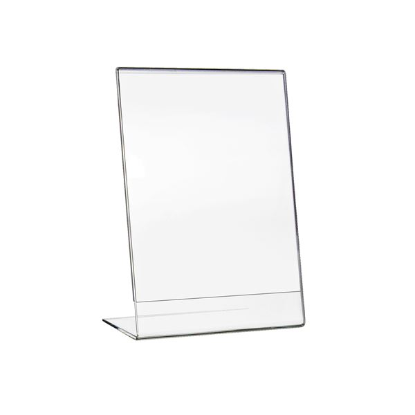 Tischaufsteller L-Ständer Din A5 Acryl, Menükartenhalter, Hochformat, HMF 46932, 15 x 21 x 8,3 cm
