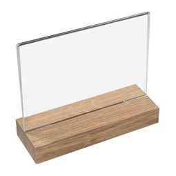 Tischaufsteller mit Holzfuß, Din A5 Acryl, Menükartenhalter, Querformat, HMF 46943, 21 x 18 x 6 cm