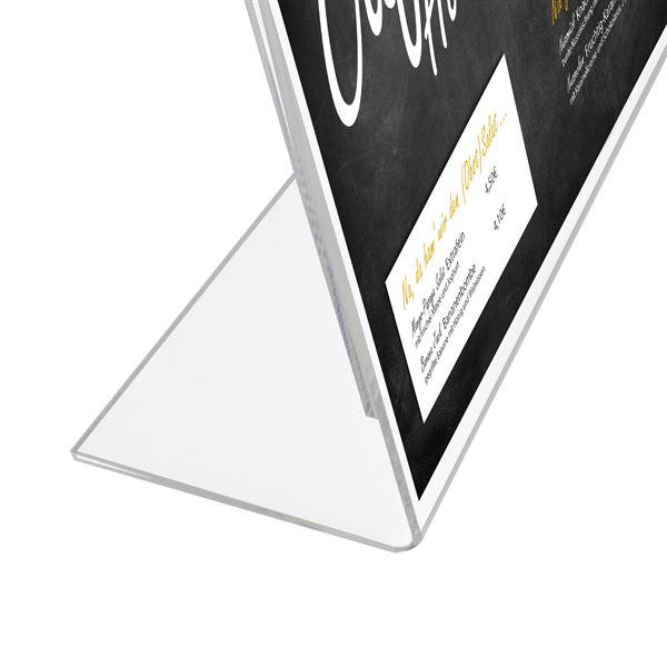 Tischaufsteller L-Ständer Din A5 Acryl, Menükartenhalter, Querformat, HMF 46933, 21 x 15 x 8,3 cm