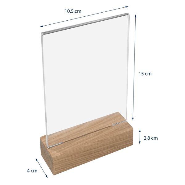 Tischaufsteller mit Holzfuß, Menükartenhalter, HMF 4694, DIN A4 A5 A6, Hoch- Quer
