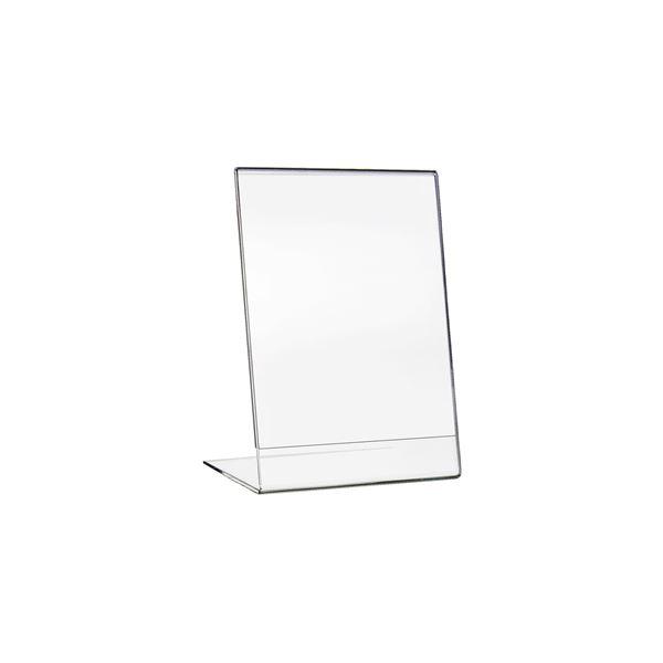 Tischaufsteller L-Ständer Din A6 Acryl, Menükartenhalter, Hochformat, HMF 46930, 11 x 15 x 8,3 cm