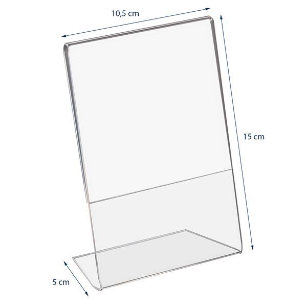 Tischaufsteller L-Ständer Acryl, Hoch- und Querformat, HMF 4695, DIN A4 A5 A6