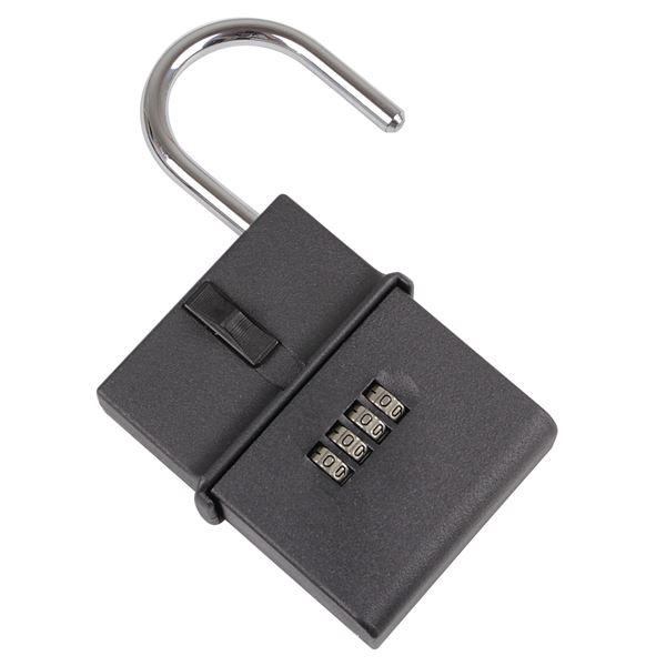 Vorhängeschloss Schlüsselbox Zahlenkombinationsschloss, HMF 311-02, 15,4 x 7,4 x 2,7 cm, schwarz