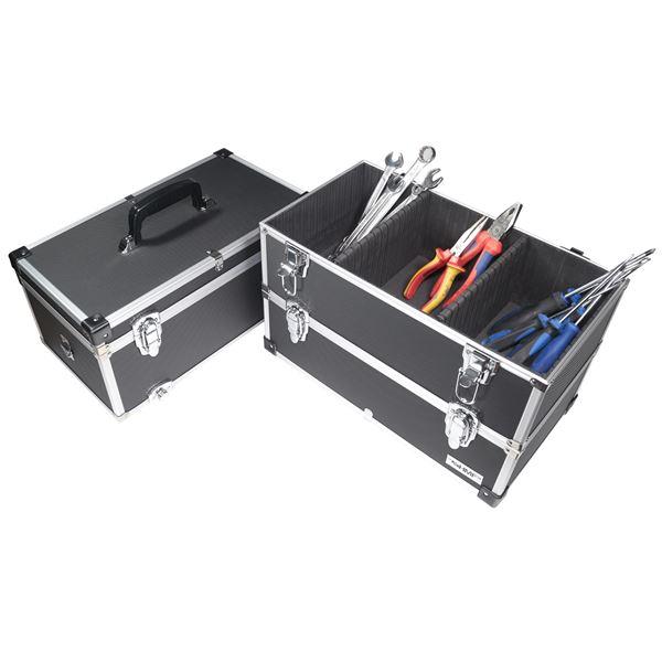 Alu Werkzeugkoffer 3 Etagen leer, verstellbare Facheinteilung, HMF 14661-02, 44 x 45 x 24 cm